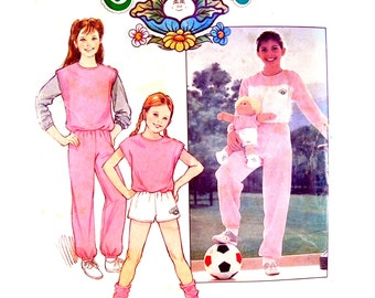 1984 Butterick 6705 Cabbage Patch Kids Girls' Top, Vest, Shorts, Pants and Transfers, Uncut, Factory Folded Sewing Pattern Size 12-14