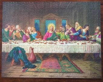 Milton Bradley Puzzle, The Last Supper, Leonardo DaVinci, Vintage, Jigsaw Puzzle, 1965, 1000 Pieces, Religious Puzzle, #4557, Made in USA