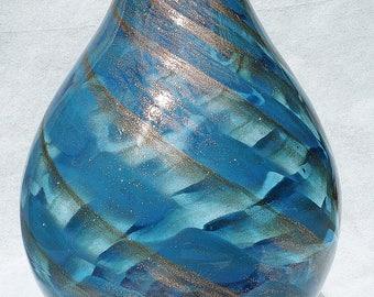Lenox Seaview Swirl Aqua and Golden Art Glass Vase