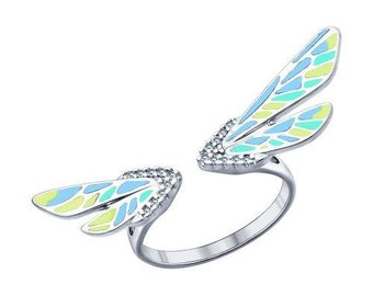 SOKOLOV - Firefly Open Ring - Silver With Enamel and CZ, Teal