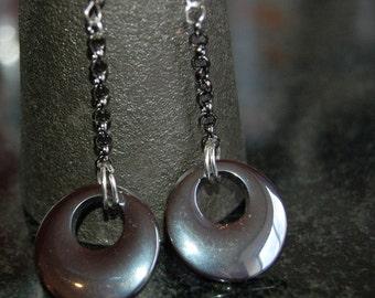 Hematite Flying Saucer Earrings