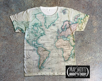 Vintage World Map TShirt, Atlas of Canada, Antique Map 1915, World Traveler, All Over Print Shirt,