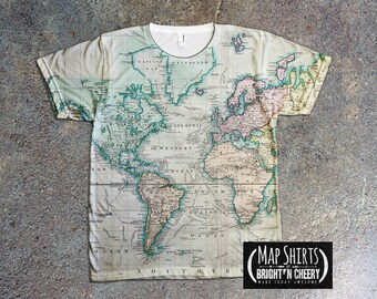 Antique world map t shirt all over print globe shirt earth vintage map print t shirt all over print tee antique world map historical chart gumiabroncs Choice Image