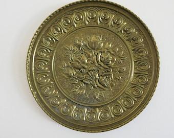 English Rose Brass Decorative Plate