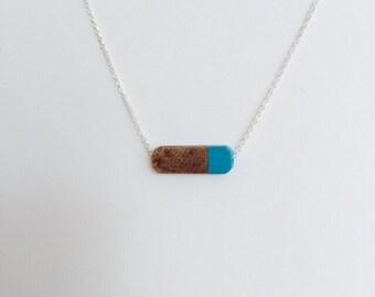Modern Geometric Wood Bead Necklace Turquoise
