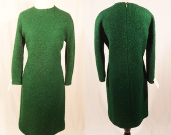 1960's Green Shift Dress/Retro Textured Dress/60's Shift Dress