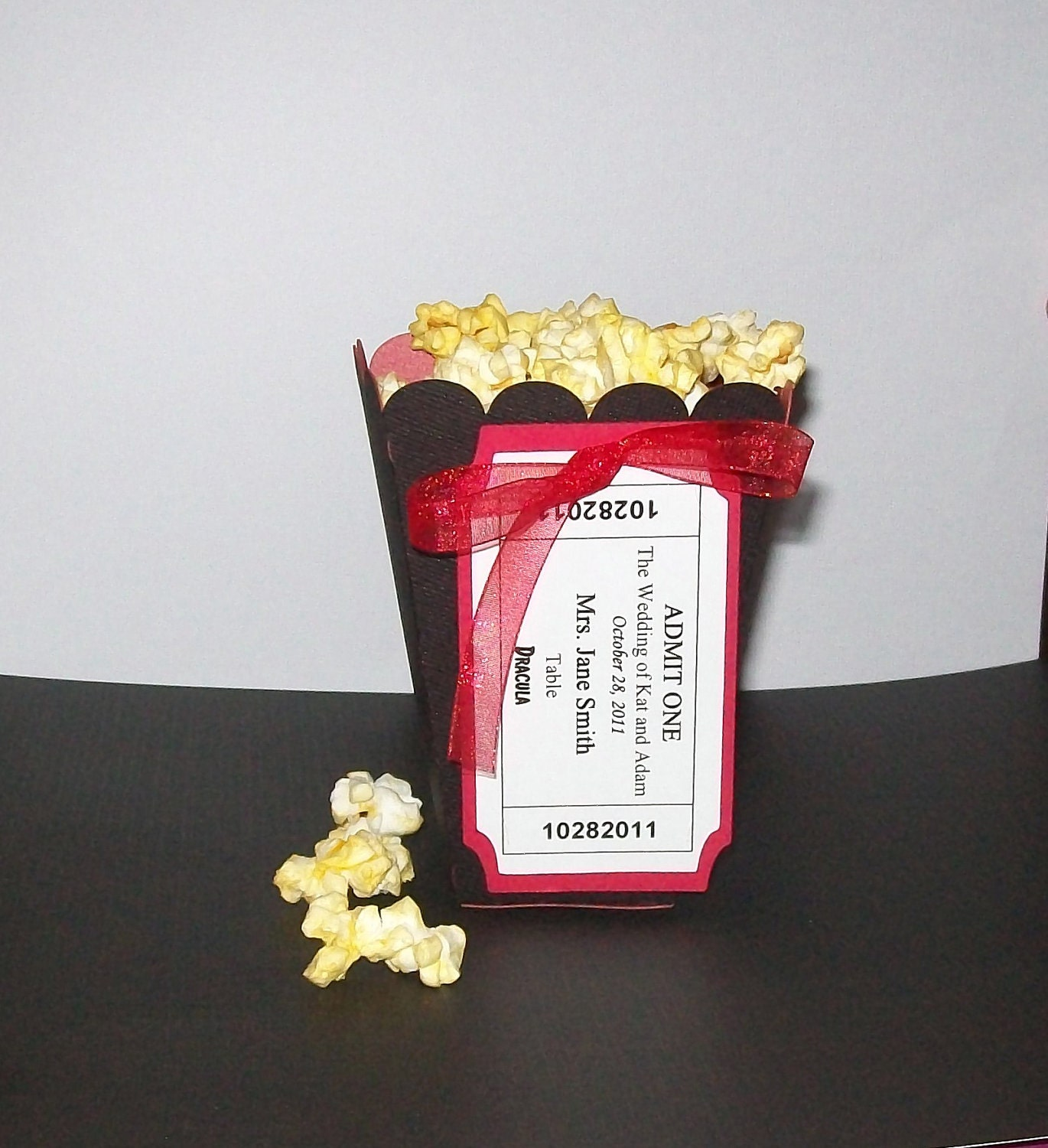 Popcorn Favor Boxes with Movie Tickets Escort Cards Place
