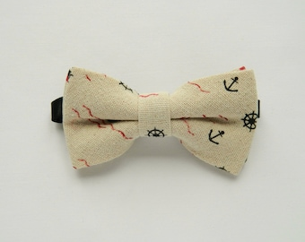 Children's beige nautical bow tie Kid's bow tie boy's bow tie wedding bow tie anchor print formal bow tie