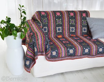 Crochet blanket, throw, home decor, Motifs, P468
