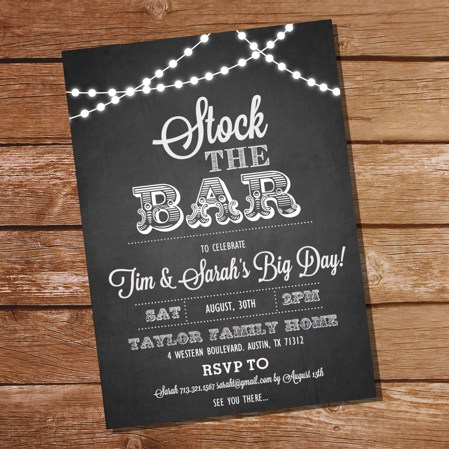 Chalkboard Stock The Bar Engagement Party Invitation Stock