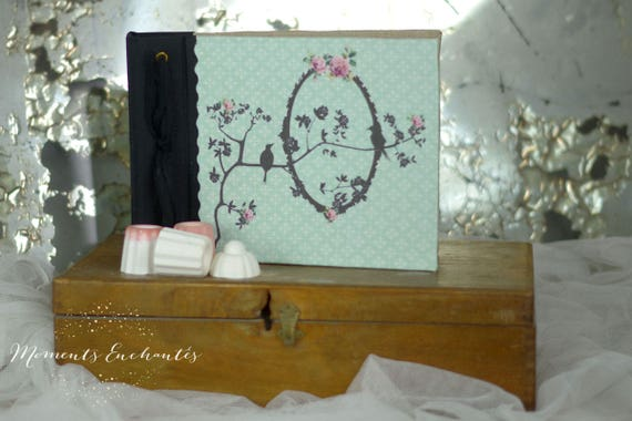 Note book bird flowers, secret book or guest book shabby style mothers' Day
