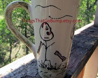 Personalized zombie mug tall latte mug custom zombies brains pottery mug coffee tea horror