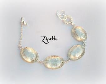 Cracked Crystal cabochon silver bubbles bracelet