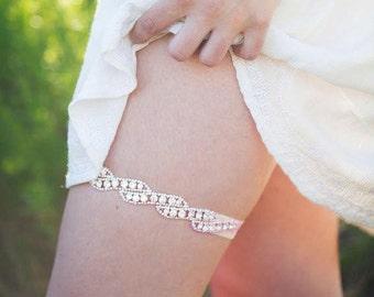 Rose Gold Garter,Rose Gold Wedding Bridal Garter,Swarovski Crystal Rope Shaped Rhinestone Rose Gold Garter,Custom Ivory Garter, Prom Garter