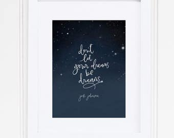 Hand Lettered Print-Hand Lettered Print - Dreams *Jack Johnson: Hand Drawn Art Print