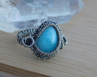 Oxidized Sterling Silver Wire Wrapped Blue Larimar Cabochon Wire Wrap Ring Size 8.5 Wire Wrapped Stone Jewelry Handmade Boho Artisan Weave