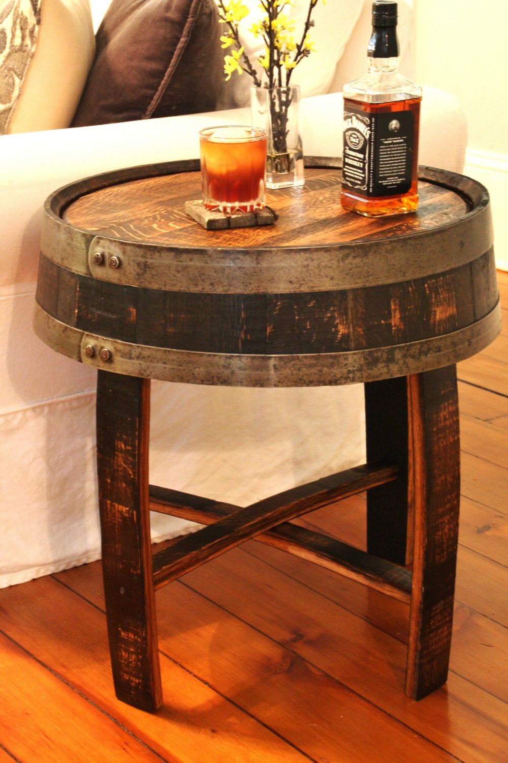 Handcrafted oak whiskey barrel end table for 1 2 wine barrel table