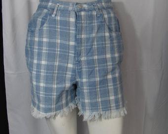 Super Cute Vintage 90s Blue Plaid Denim/ High Waist Frayed Shorts