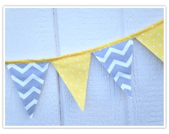 Sale:  Baby Shower Banner, Chevron Bunting, Yellow and Gray Chevron Fabric Banner, Home Decor, Nursery Decor, Flags, Bunting