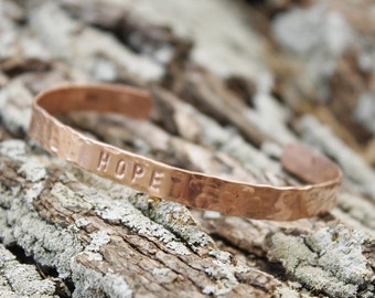 Personalized Hammered Copper Bracelet