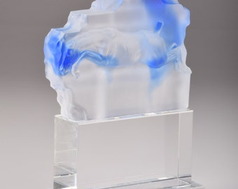 Clear & Blue Glass Horse Hidden in Brick Wall Hand-Crafted Quality Crystal Figurine