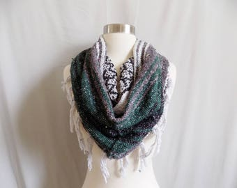 Green Cowl- Boho Fringe- Bohemian Style- Bohemian Accessories- Snood- Mexican Blanket- One Of a Kind- Knitted Cowl- Boho Scarf- Cowl Scarf