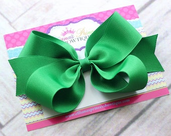 Baby Bows, Toddler Bows, Girls Hair Bows, Green Hair Bow, Christmas Green Hair Bow Headband, Holiday Hair Bow Headband, 5 Inch Hair Bow