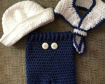 Baby Sailor suit, Boy Baby Sailor Photo Prop Outfit, Sailor Costume, Baby Shower Gift, Navy Baby Gift, Crochet Photo Prop, Nautical Baby set