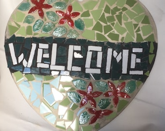 Mosaic heart welcome sign