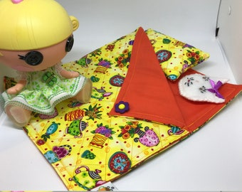 Sleeping Bag and Pillow Set for Lalaloopsy Littles Doll // Camping set // Sleepover // Pajama Party // Doll Bed
