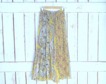 Vintage yellow floral paisley Indian print boho maxi skirt/long gauzy cotton gypsy festival skirt/stretch waist skirt