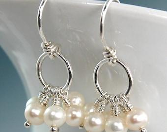 Freshwater Pearl Cluster Earrings Sterling Silver Dangle, June Birthstone, Bridesmaid Earrings