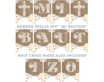 MI BAUTIZO banner, Baptism decor, comunion decoraciones, fiesta de baptismo, shabby banner, instant download banner, imprimible, boho banner