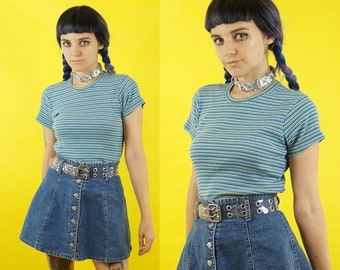Ribbed 90s Striped Blue and Green Grunge Ringer Tee, Short Sleeve Top, 90s Grunge Top, Women's Size Medium