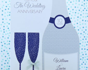 Beautiful Large Luxury Personalised Handmade Tin/10th Wedding Anniversary Card, Son, Friends