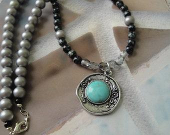 Sky Blue Round Pendant Bead Necklace