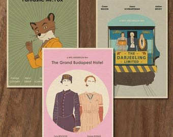 Wes Anderson set of 3 limited edition prints -set 3