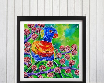 Rainbow Lorikeet, Lorikeet Art Print, Rainbow lorikeet art, Tropical decor ideas, Australian bird art, Parrot, Tropical parrot art