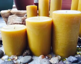 "Set of 3 100% Pure Beeswax 3"" diameter Pillar candles"