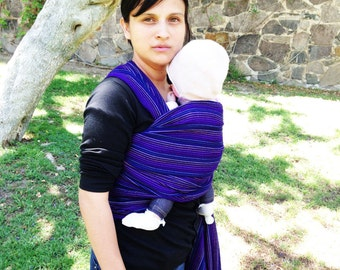 Baby Wrap Carrier Mexican Nech Royal blue fine lines 5,5 yards Wrap