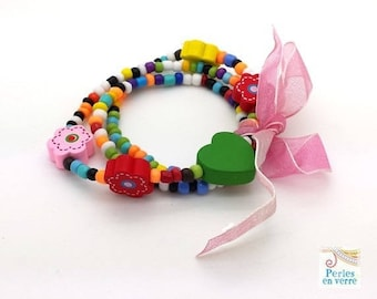 Pink Princess Kit! Seed beads bracelet/necklace, wooden beads and Ribbon (kit113)