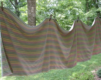 """Vintage Pastel Striped Cotton Tablecloth - Large Woven Summer Tablecloth - Party Tablecloth - 54"""" by 96"""""""
