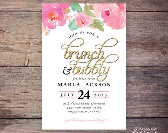 Brunch and Bubbly Bridal Shower Invitation, Watercolor, Floral, Wedding Shower Invite, Watercolor Flowers Wedding DiY Printable- Marla
