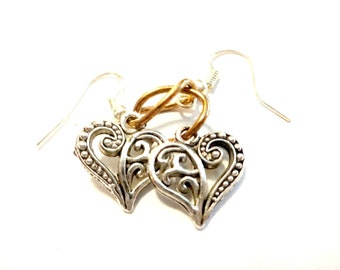 Bridal Earrings, Heart Dangle Earrings, Filigree Heart Drop Earring. Dainty Silver Heart and Copper Dangle Earrings, Wedding Jewelry