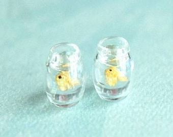 fishbowl earrings- gold fish earrings, fish earrings, pet fish earrings