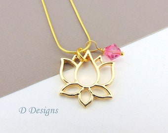 Lotus Necklace, Tarnish Resistant Gold Plated Lotus Birthstone Necklace