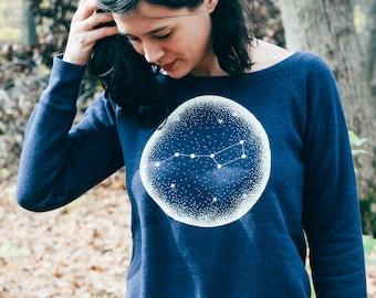 Little Dipper Indigo Ladies Fit Sweatshirt. Constellation of Stars night sky women's sweater.