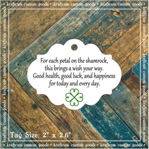 Irish Blessing Favor Tags #605 for Irish Wedding, Anniversary Party, Birthday Party FREE SHIPPING!