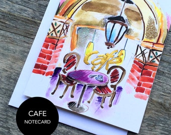 French Cafe Notecard Set of 3 or 6