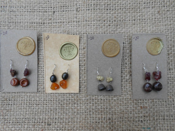 Ocean Floor Ceramic and Natural Gemstone Earrings